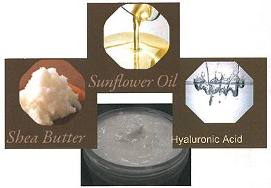 ディーセス ルッセの原料となる、シアバター、サンフラワーオイル、ヒアルロン酸の画像 ぷるぷるクリーム