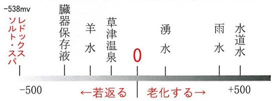 レドックスソルトスパの還元電位は-538mvです。